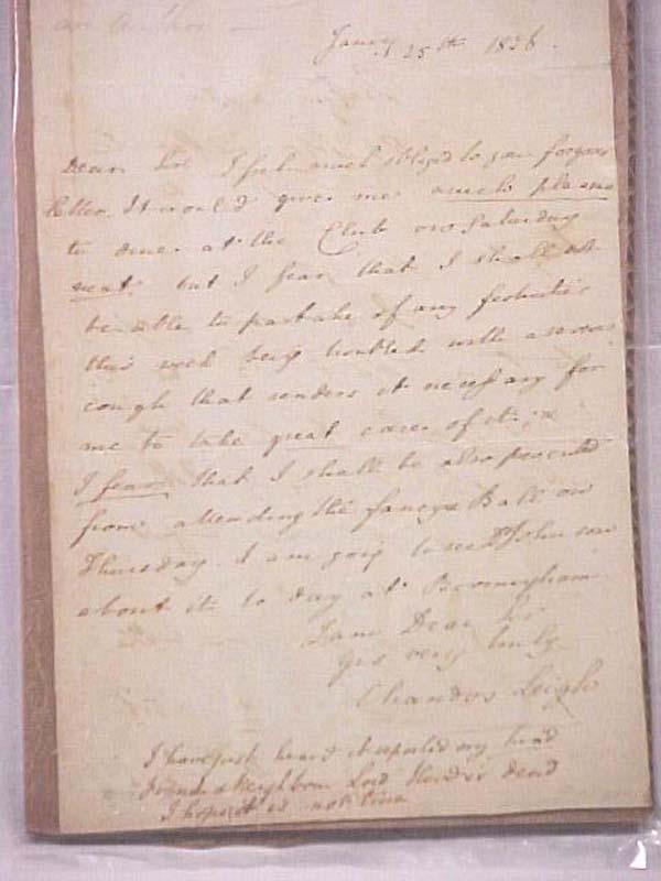 Leigh, Chandos: Chandos Leigh ALS 1836  (Handwritten Letter)