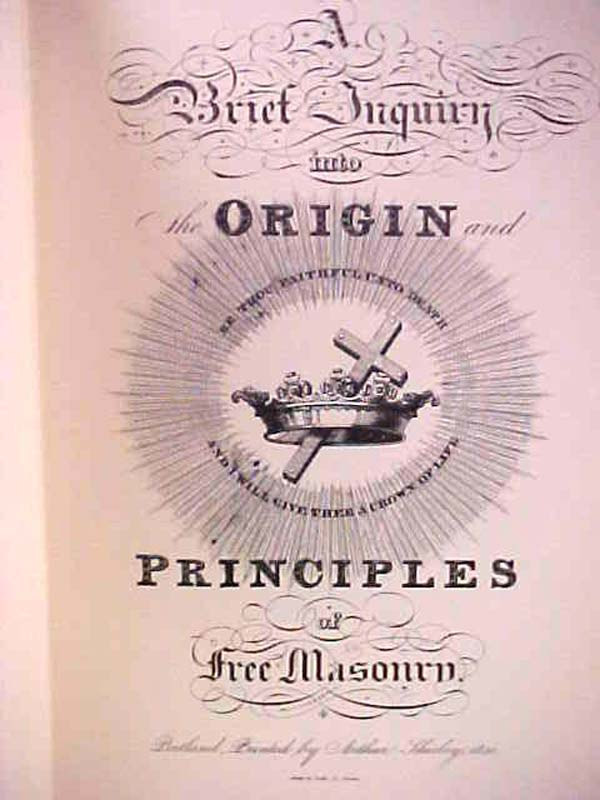 SHIRLEY, ARTHUR: A Brief Inquiry into Origin and Principles of F