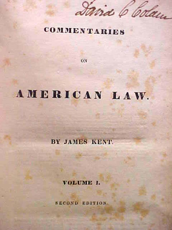 Kent, James: Commentaries on American Law Vols. 1-4