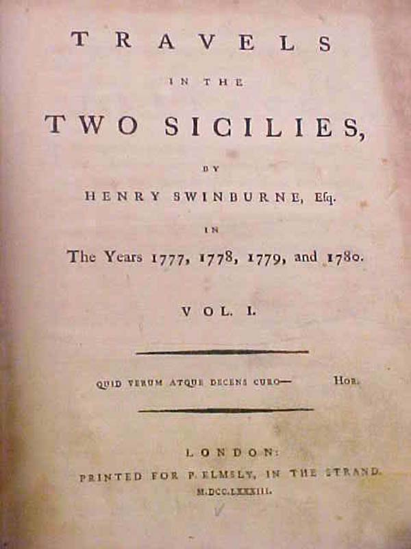 Swinburne, Henry: Travels in the Two Sicilies, in the Years 1777