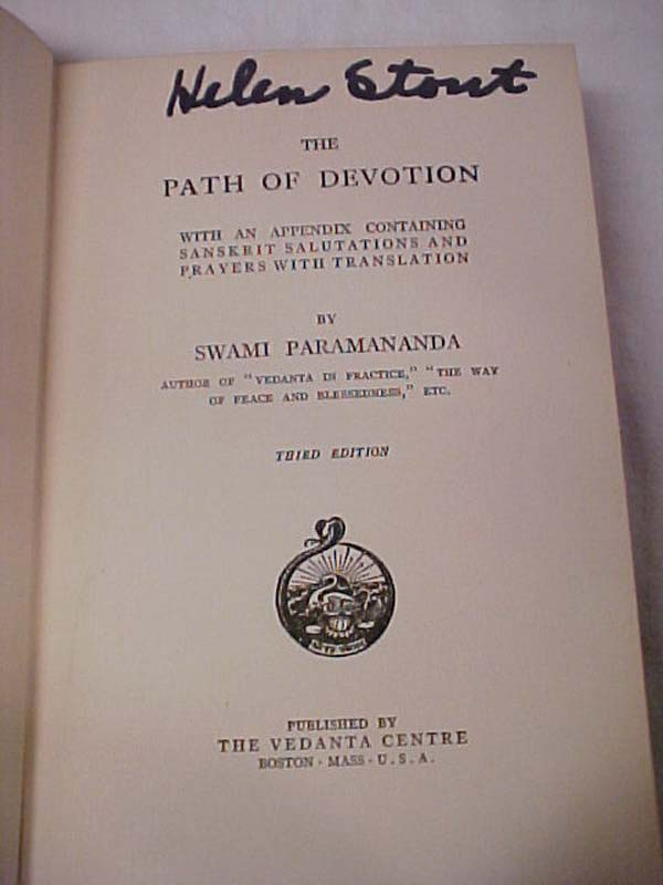 Paramananda, Swami: The Path of Devotion Inscribed by Author SIG