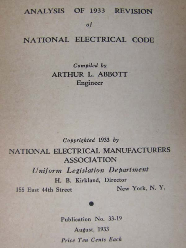 Abbott, Arthur L National Electrical...: Analysis of 1933 Revisi