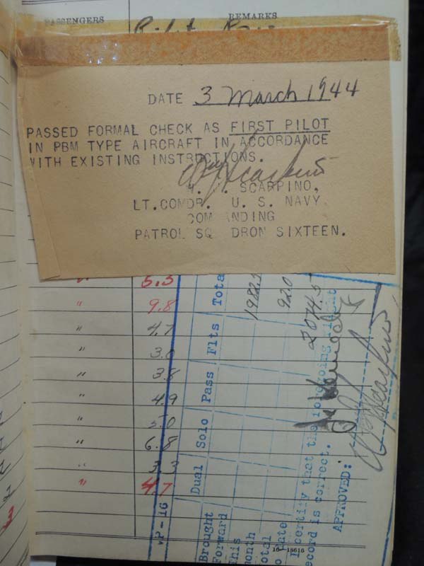 KENNEDY, COMMANDER JEFFERSON JR: Air Flight Log Books of KENNEDY