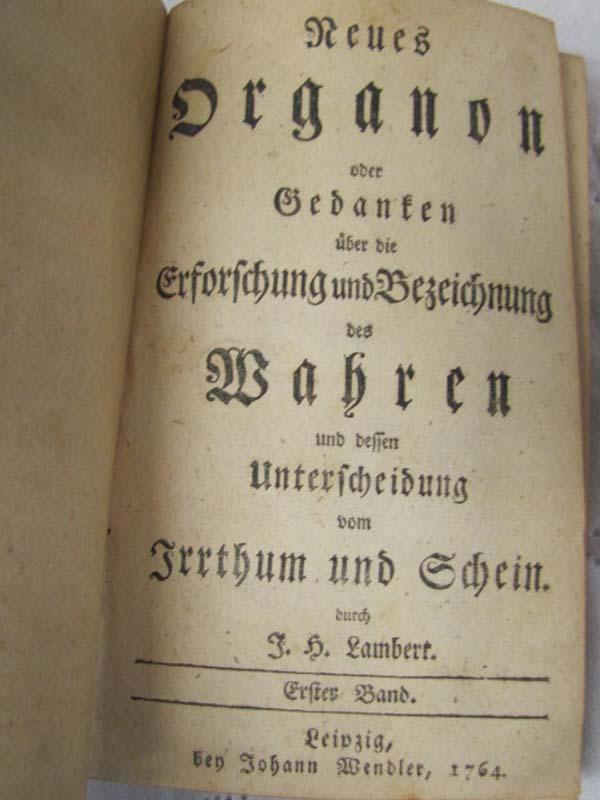 Lambert, J.H.: Neues Organon oder Gedanken uber die Erforschung