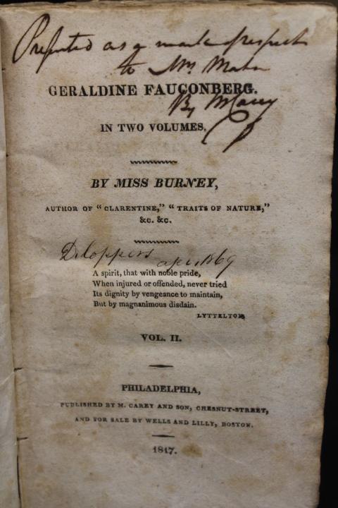 Miss, Burney and Austen, Jane: Geraldine Fauconberg in Two Volum