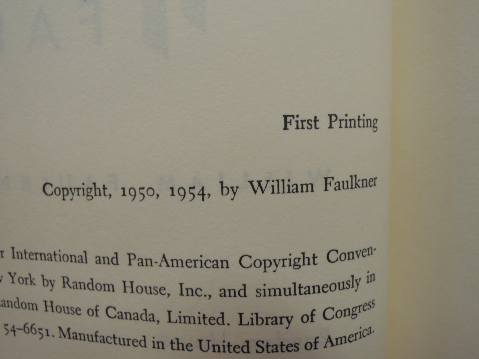 Faulkner, William: A FABLE SIGNED by William Faulkner