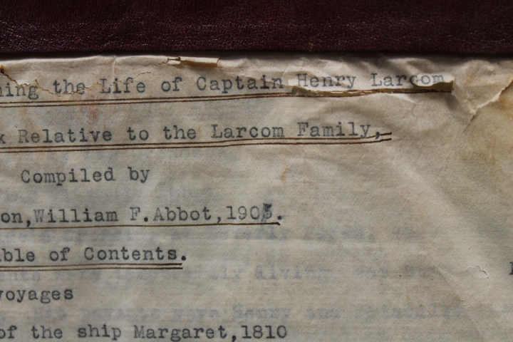 Abbot, William  F.: Family Records Concerning the Life of Captai