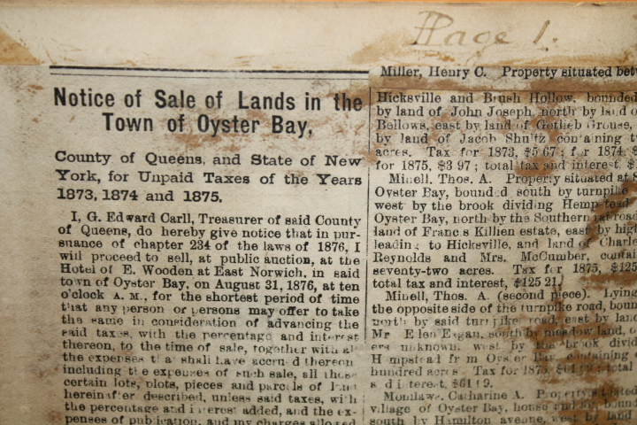 Ramsen, John: Notice of Sale of Lands in the Town of Oyster Bay