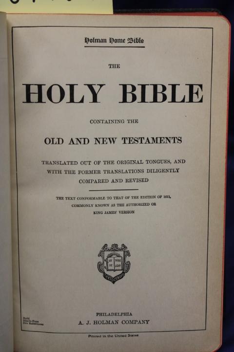 A. J. Holman: The Holy Bible
