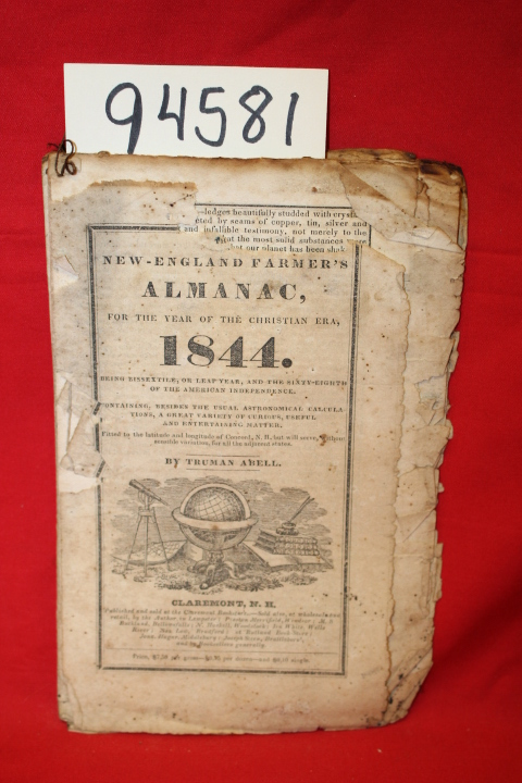 Abell, Truman: New-England Farmer's Almanac, for the year of the