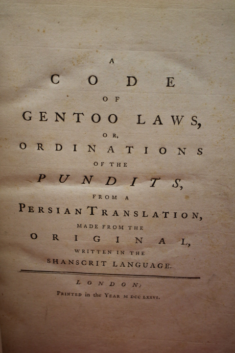 Hastings, Warren: A Code of Gentoo Laws, or, Ordinations of the
