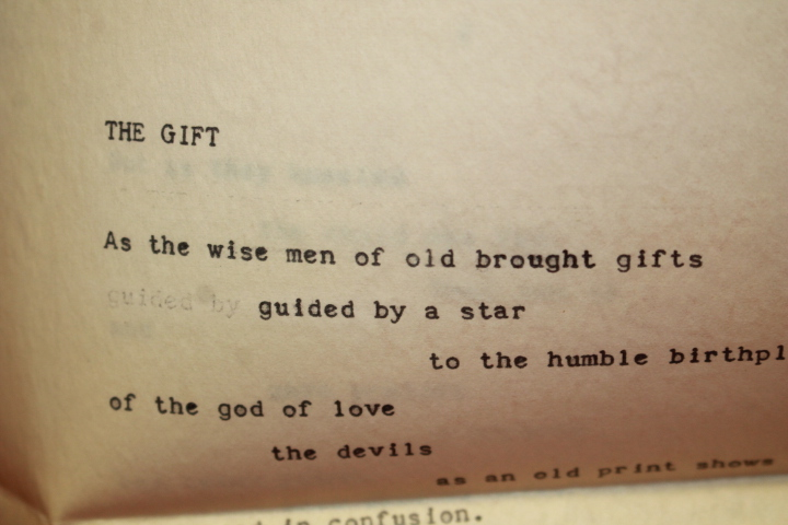 Williams, William Carlos Hand Signed: poem  The Gift , :Mary Mot