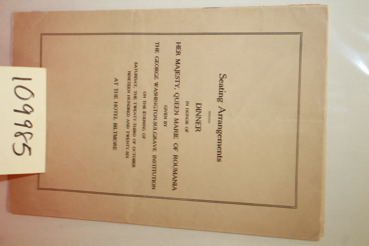 HER MAJESTY, QUEEN MARIE OF ROUMANI...: DINNER SEATING ARRANGEMENTS BOOKLET ...